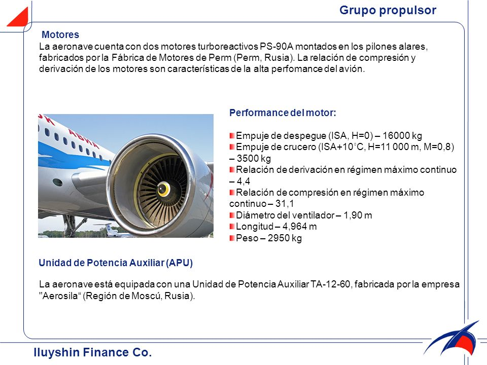 Grupo propulsor Iluyshin Finance Co. Motores