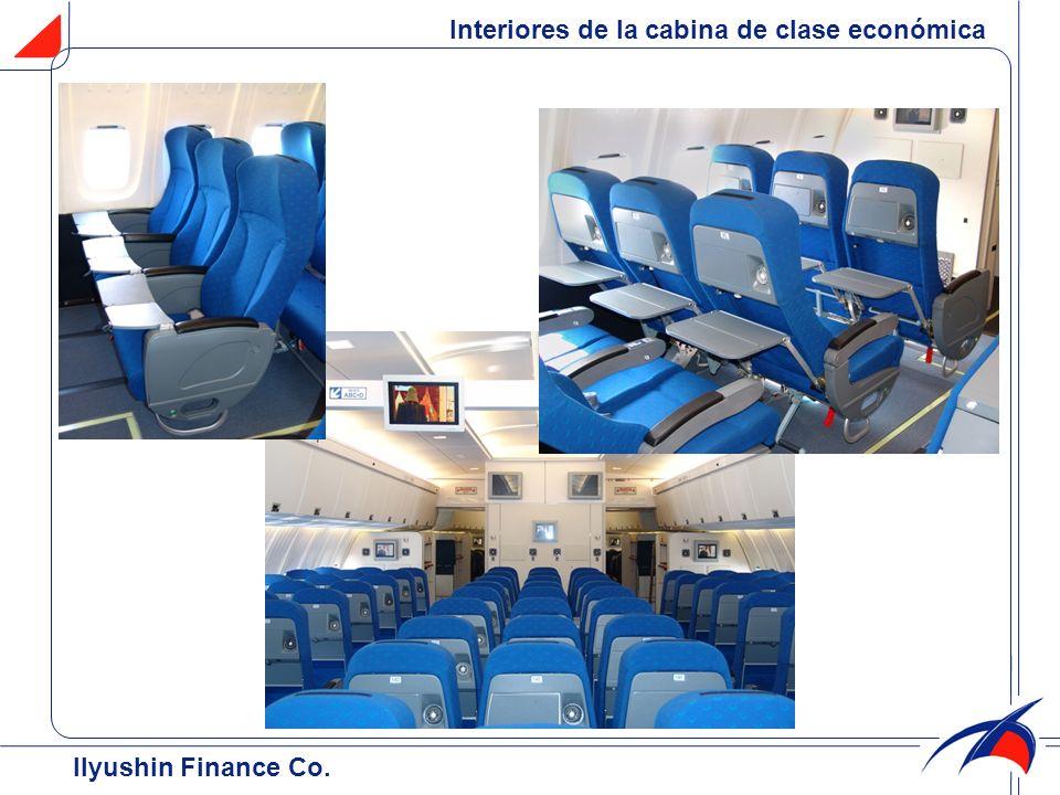 Interiores de la cabina de clase económica