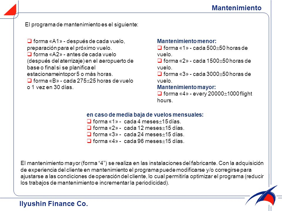 Mantenimiento Ilyushin Finance Co.