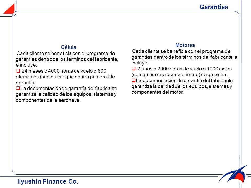 Garantías Ilyushin Finance Co. Motores Célula