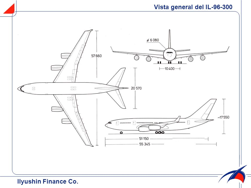 Vista general del IL-96-300 Ilyushin Finance Co.