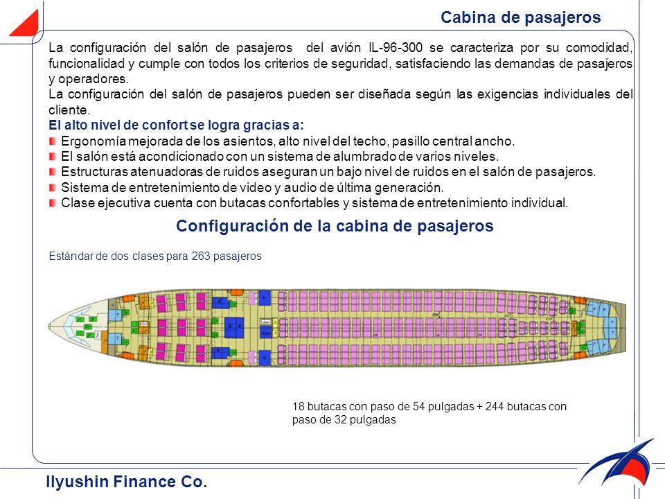 Configuración de la cabina de pasajeros