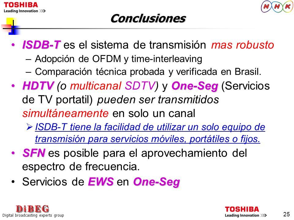 ISDB-T es el sistema de transmisión mas robusto