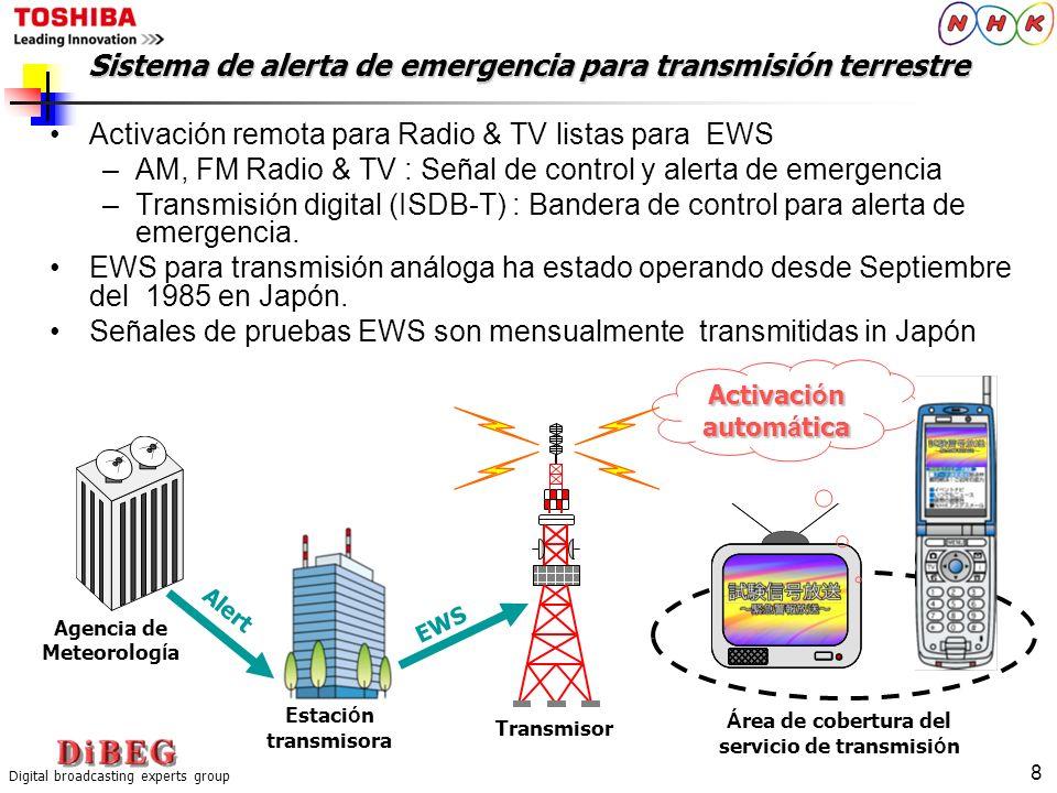 Sistema de alerta de emergencia para transmisión terrestre