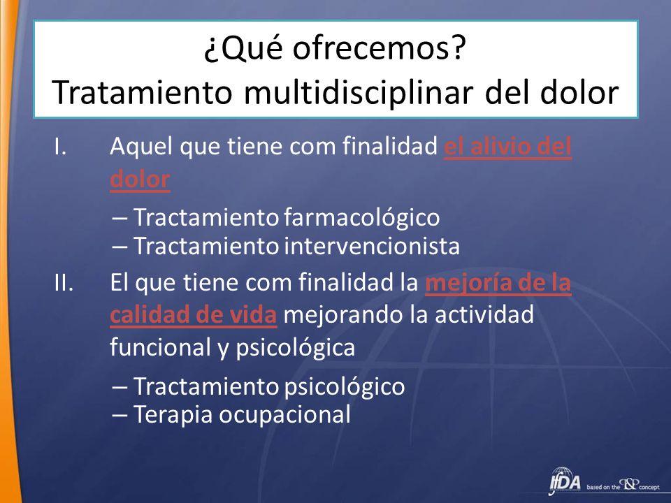 ¿Qué ofrecemos Tratamiento multidisciplinar del dolor