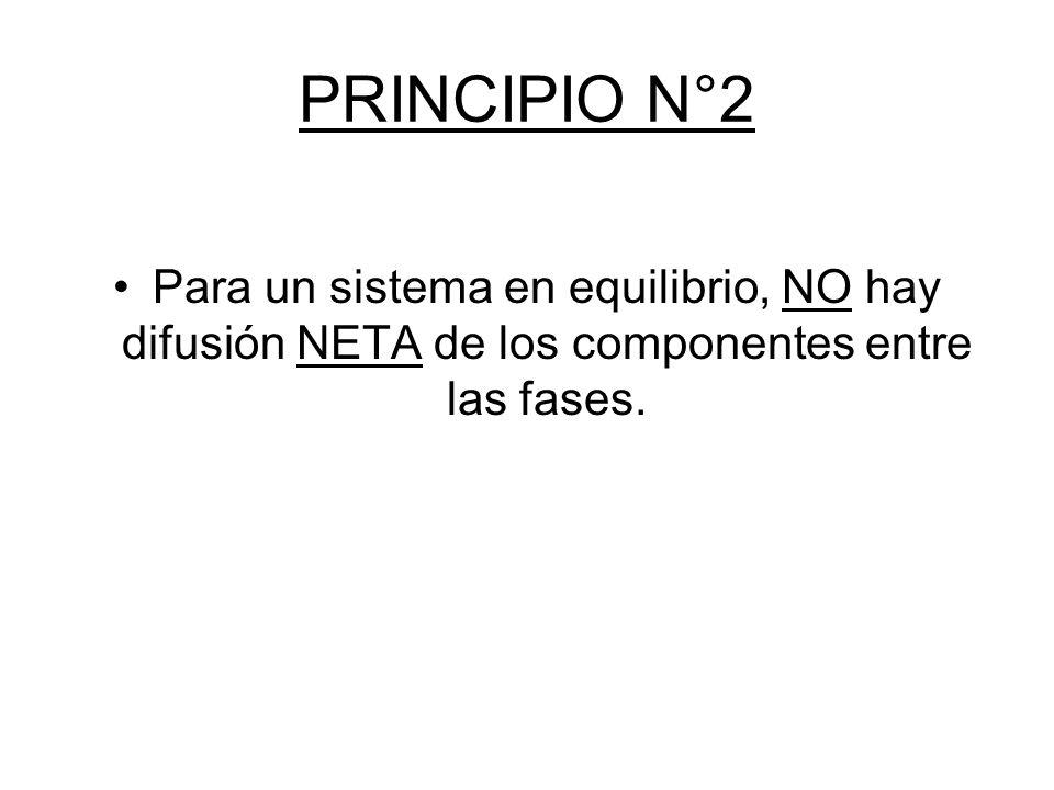 PRINCIPIO N°2 Para un sistema en equilibrio, NO hay difusión NETA de los componentes entre las fases.