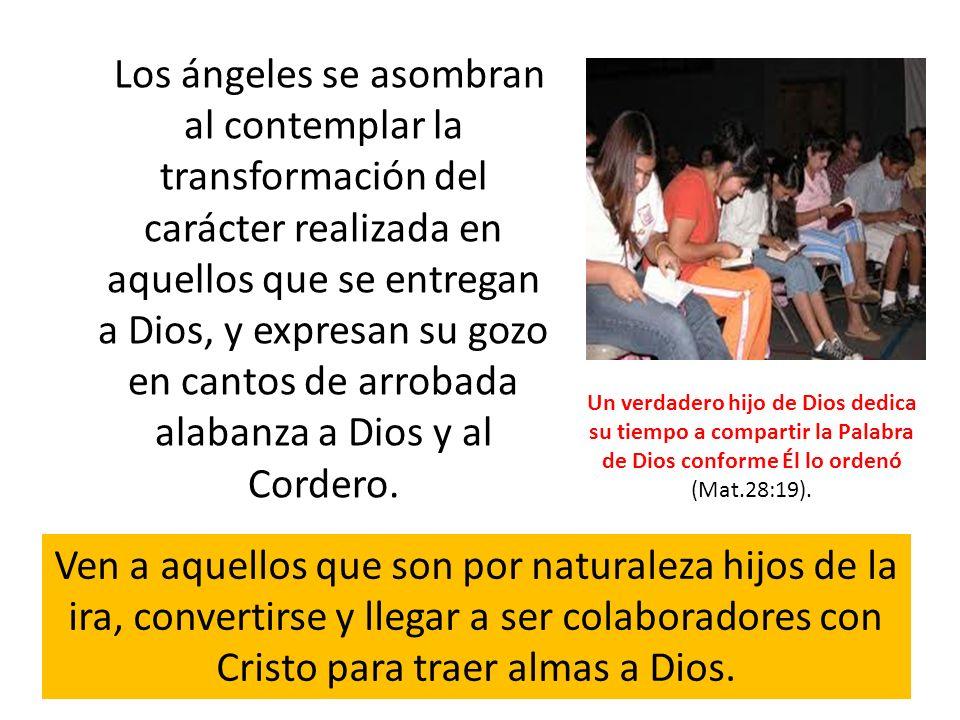 Los ángeles se asombran al contemplar la transformación del carácter realizada en aquellos que se entregan a Dios, y expresan su gozo en cantos de arrobada alabanza a Dios y al Cordero.