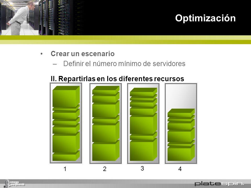 Optimización Crear un escenario Definir el número mínimo de servidores