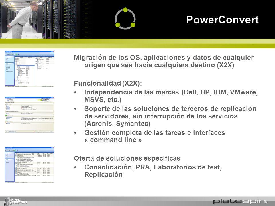 PowerConvert Migración de los OS, aplicaciones y datos de cualquier origen que sea hacia cualquiera destino (X2X)