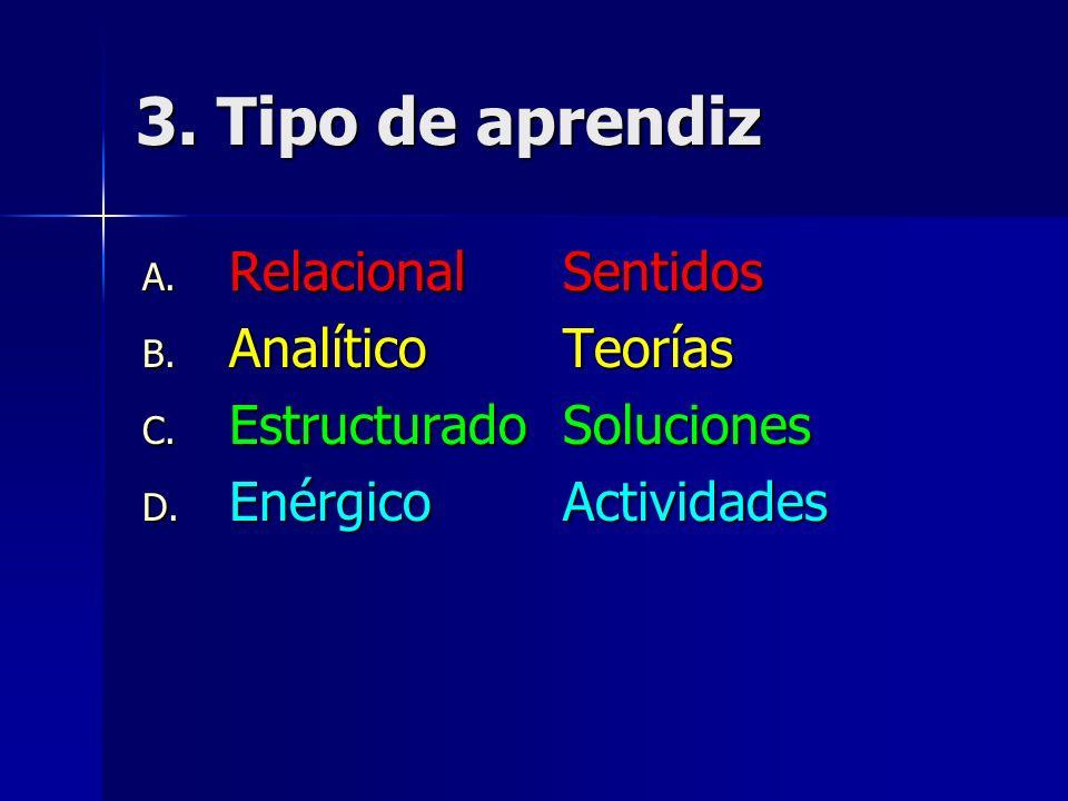 3. Tipo de aprendiz Relacional Sentidos Analítico Teorías