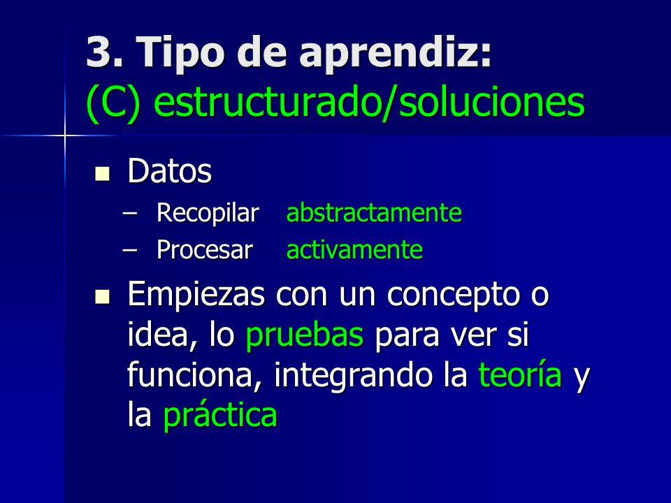 3. Tipo de aprendiz: (C) estructurado/soluciones
