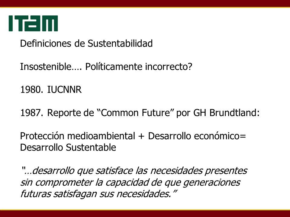 Definiciones de Sustentabilidad Insostenible…. Políticamente incorrecto.