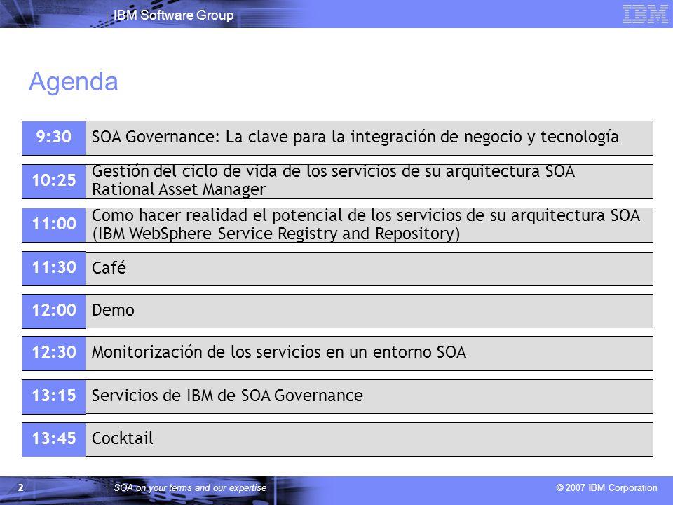Agenda 9:30. SOA Governance: La clave para la integración de negocio y tecnología. 10:25.