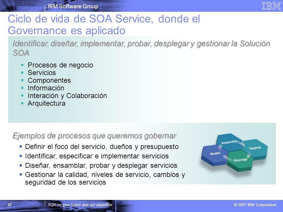 Ciclo de vida de SOA Service, donde el Governance es aplicado