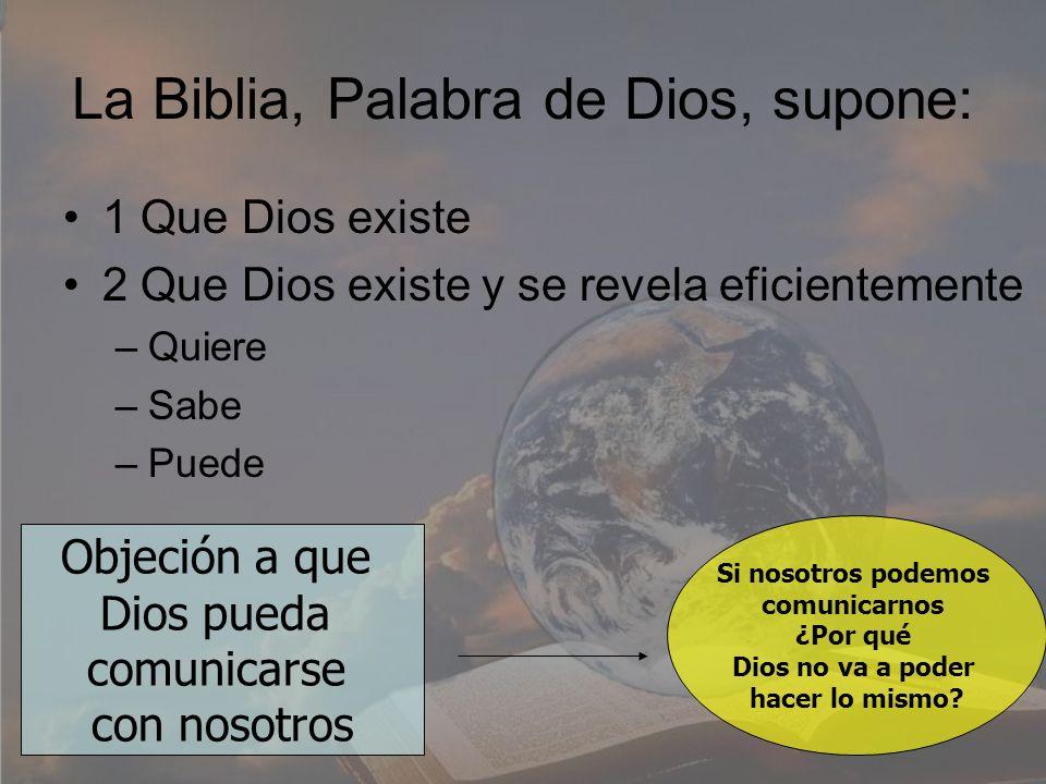 La Biblia, Palabra de Dios, supone: