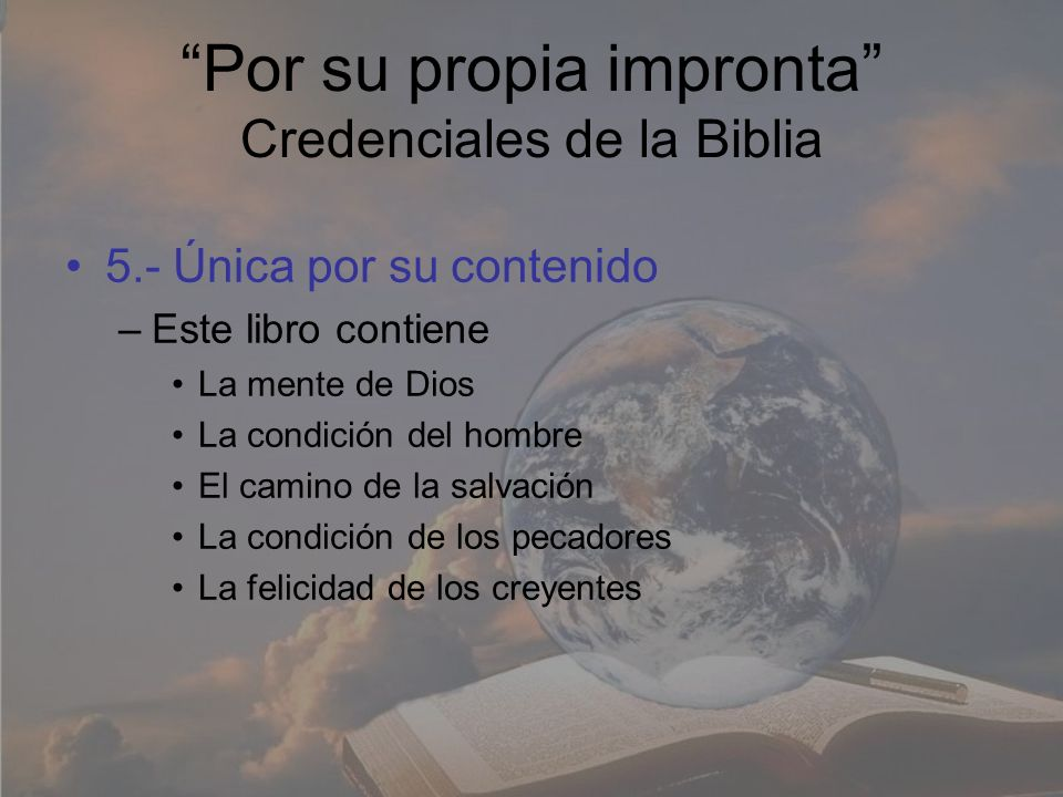 Por su propia impronta Credenciales de la Biblia