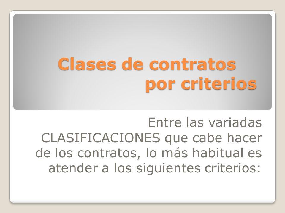 Clases de contratos por criterios