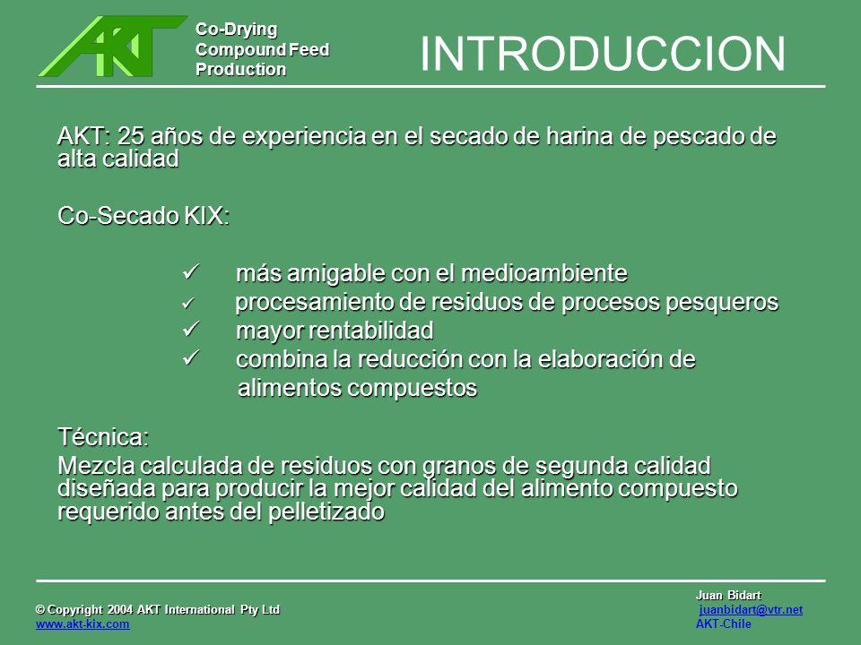 INTRODUCCION AKT: 25 años de experiencia en el secado de harina de pescado de alta calidad. Co-Secado KIX: