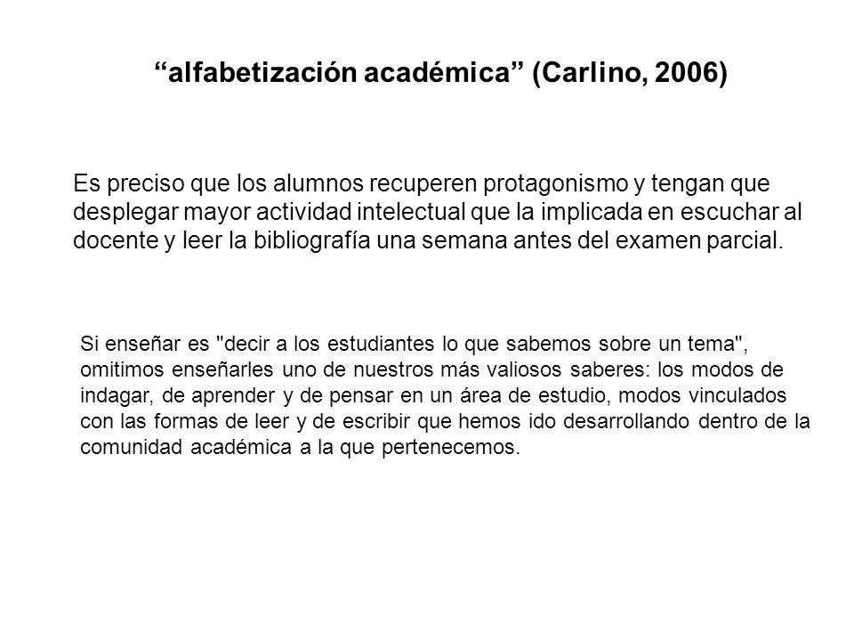 alfabetización académica (Carlino, 2006)