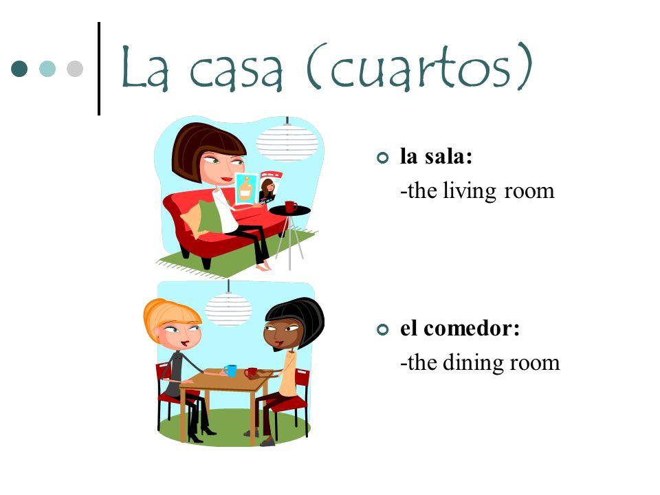 La casa (cuartos) la sala: -the living room el comedor: