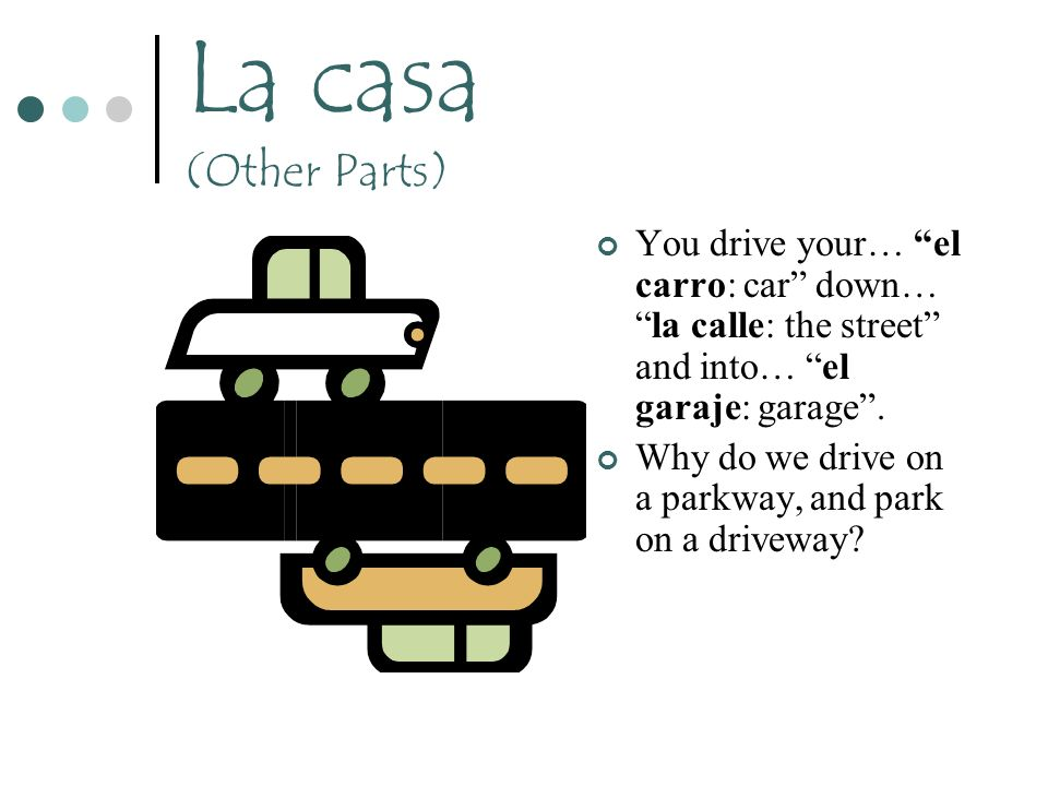 La casa (Other Parts) You drive your… el carro: car down… la calle: the street and into… el garaje: garage .
