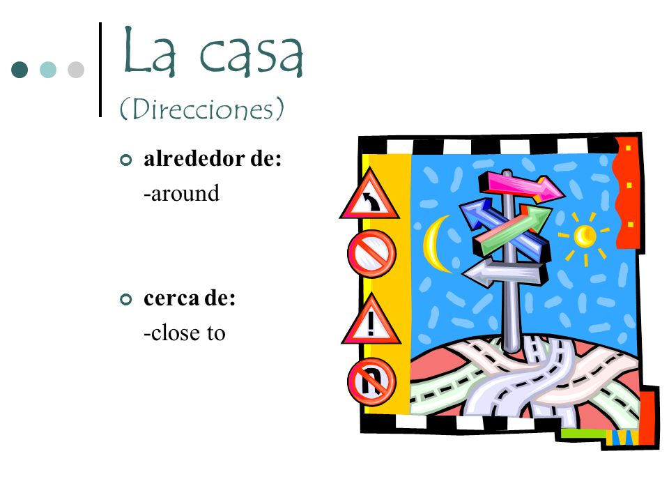 La casa (Direcciones) alrededor de: -around cerca de: -close to