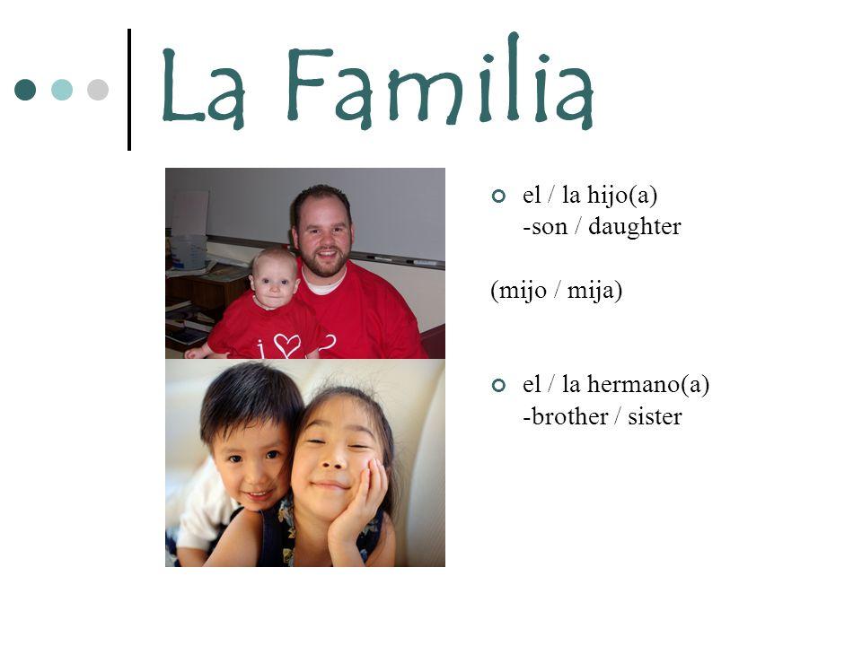 La Familia el / la hijo(a) -son / daughter (mijo / mija)