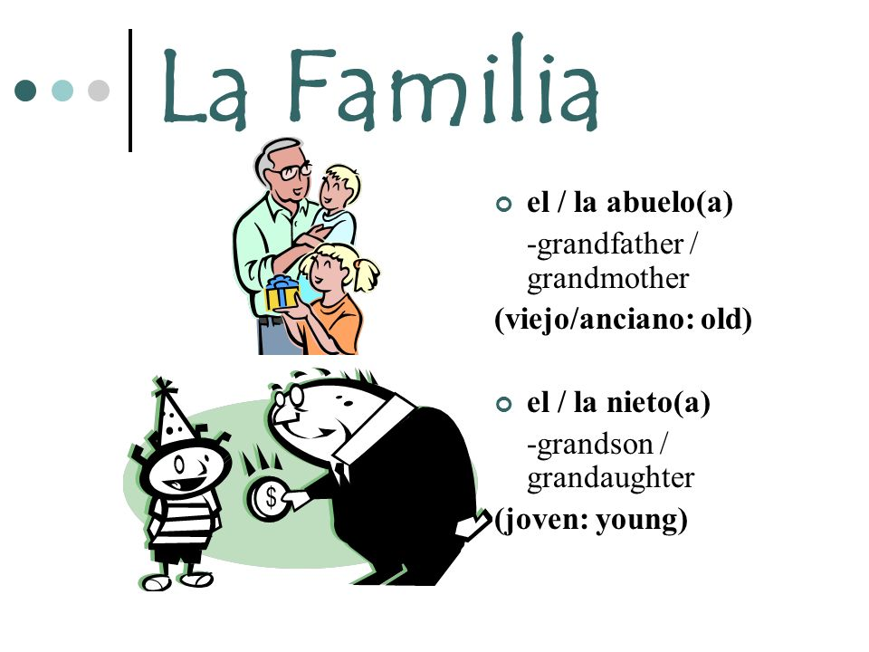La Familia el / la abuelo(a) -grandfather / grandmother