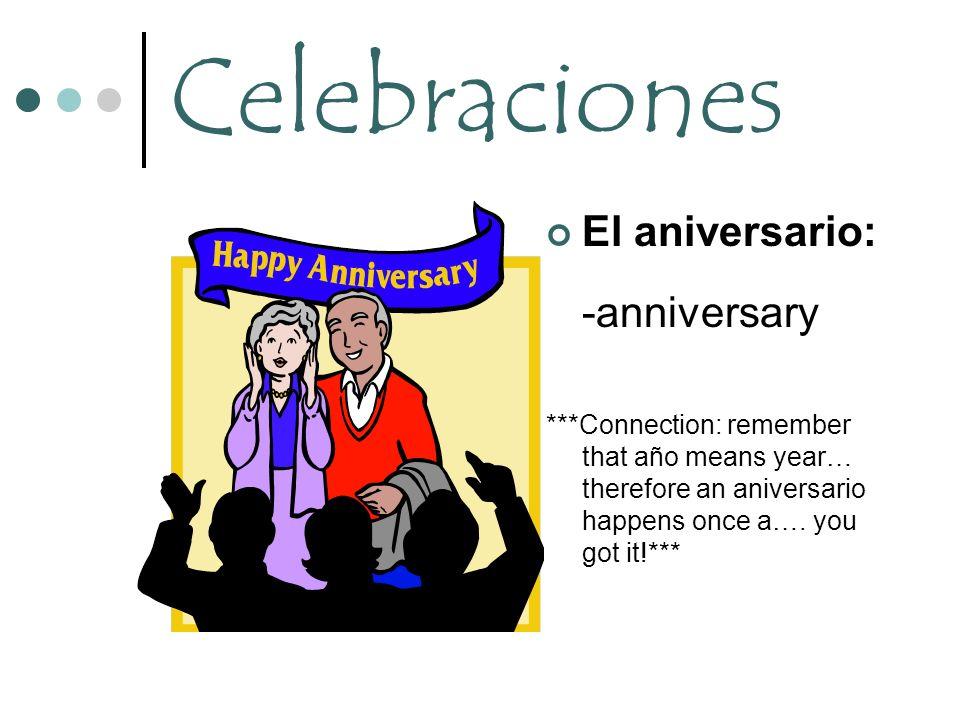 Celebraciones -anniversary El aniversario: