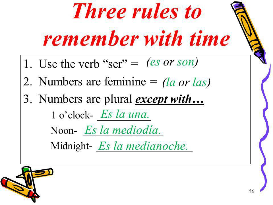 Three rules to remember with time