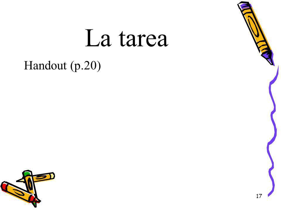 La tarea Handout (p.20)