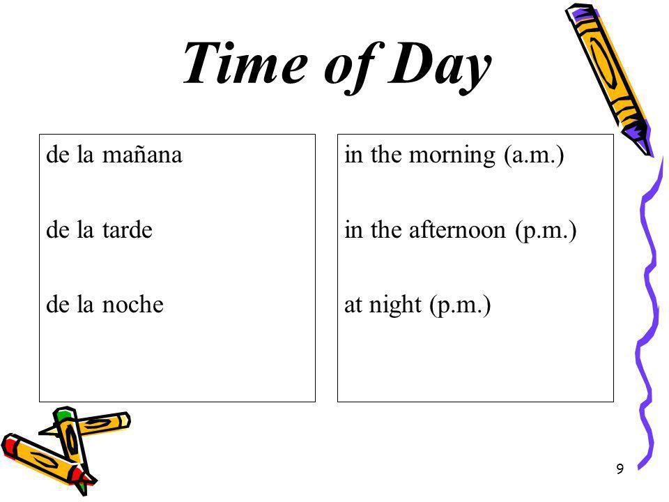Time of Day de la mañana de la tarde de la noche