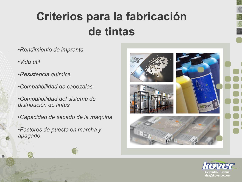 Criterios para la fabricación de tintas