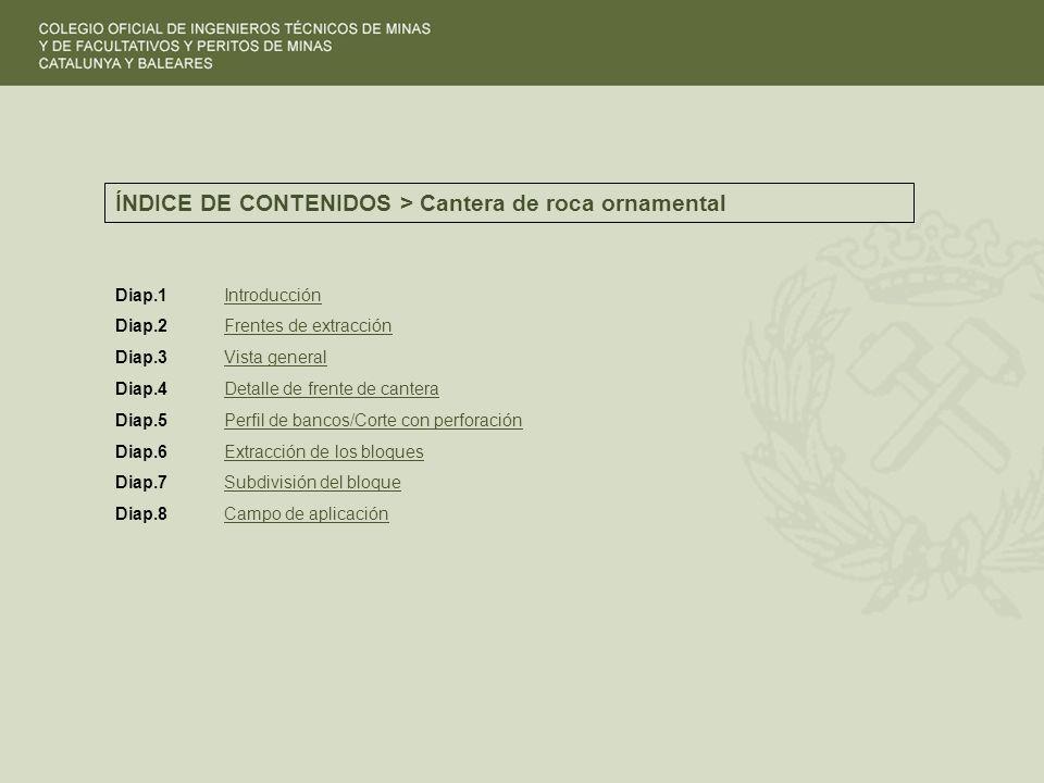 ÍNDICE DE CONTENIDOS > Cantera de roca ornamental