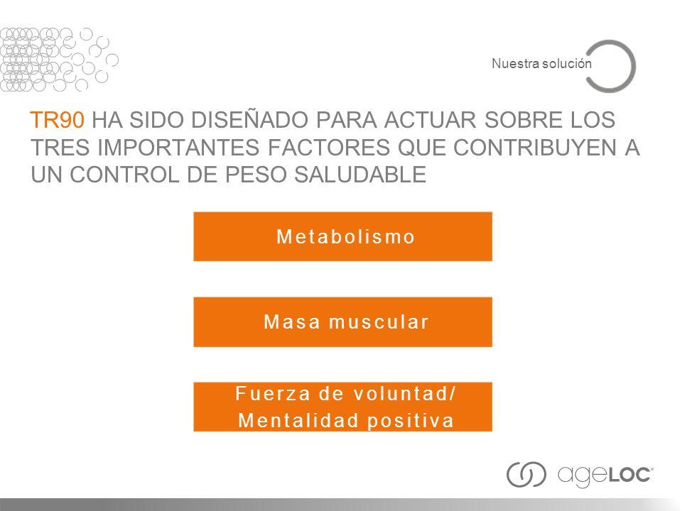 Nuestra solución TR90 HA SIDO DISEÑADO PARA ACTUAR SOBRE LOS TRES IMPORTANTES FACTORES QUE CONTRIBUYEN A UN CONTROL DE PESO SALUDABLE.
