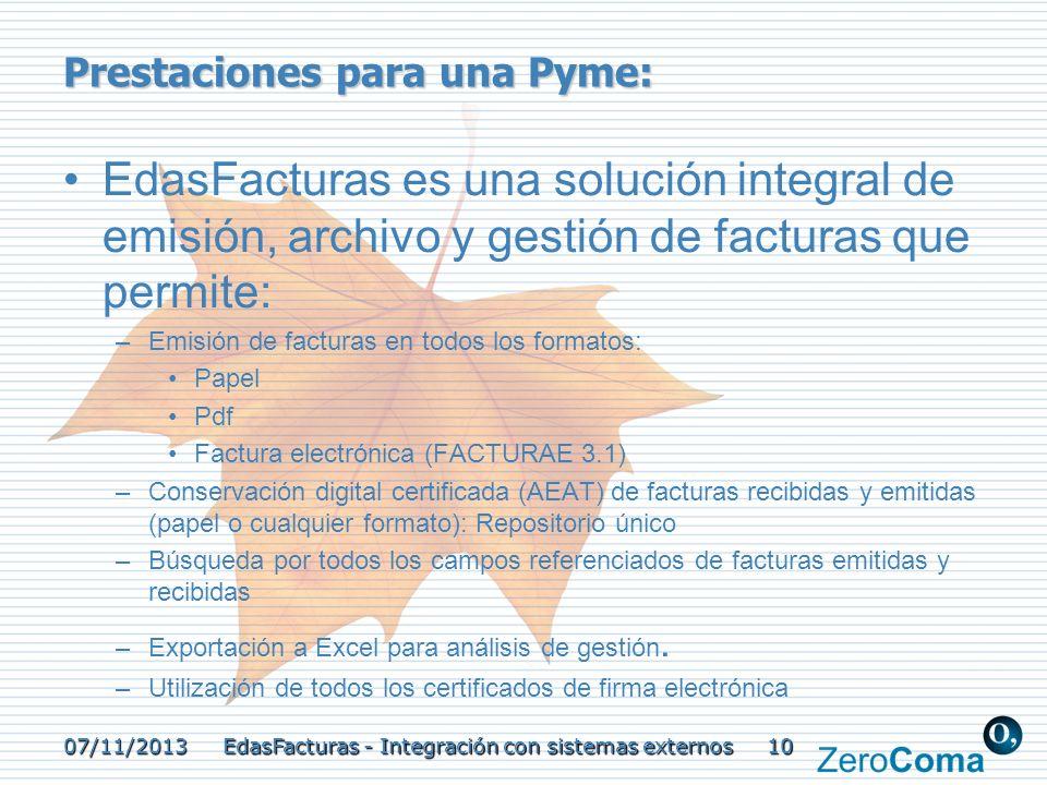 Prestaciones para una Pyme: