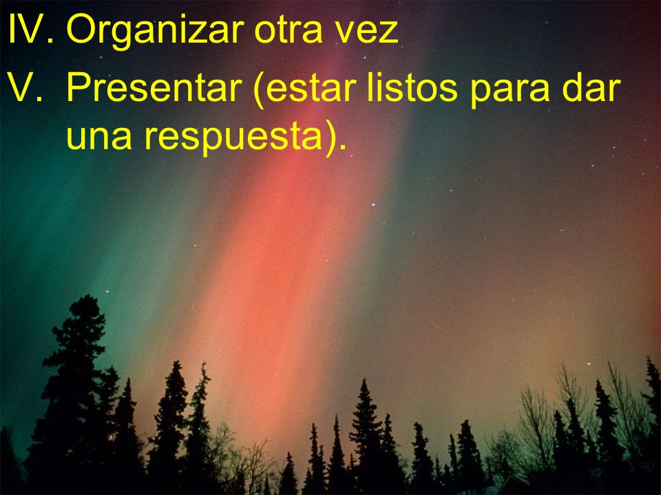 Organizar otra vez Presentar (estar listos para dar una respuesta).