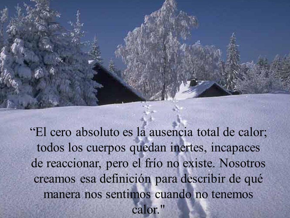 El cero absoluto es la ausencia total de calor; todos los cuerpos quedan inertes, incapaces de reaccionar, pero el frío no existe.