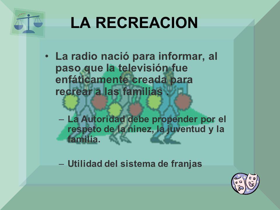 LA RECREACION La radio nació para informar, al paso que la televisión fue enfáticamente creada para recrear a las familias .