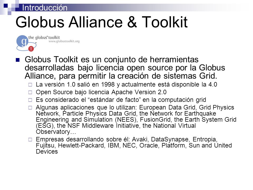Introducción Globus Alliance & Toolkit