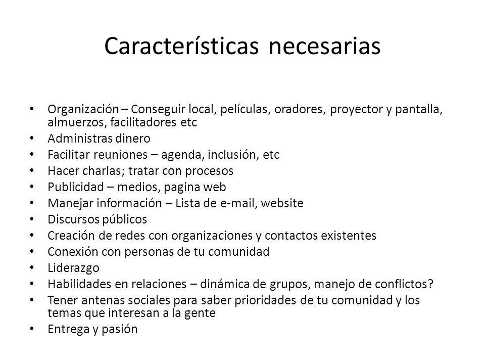 Características necesarias