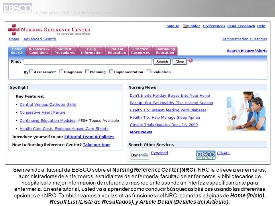 Bienvenido al tutorial de EBSCO sobre el Nursing Reference Center (NRC).