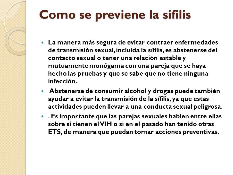 Como se previene la sifilis