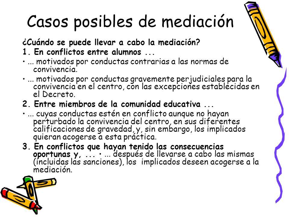 Casos posibles de mediación