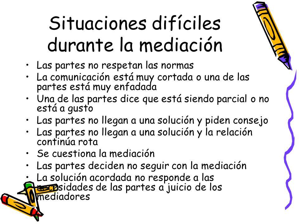 Situaciones difíciles durante la mediación
