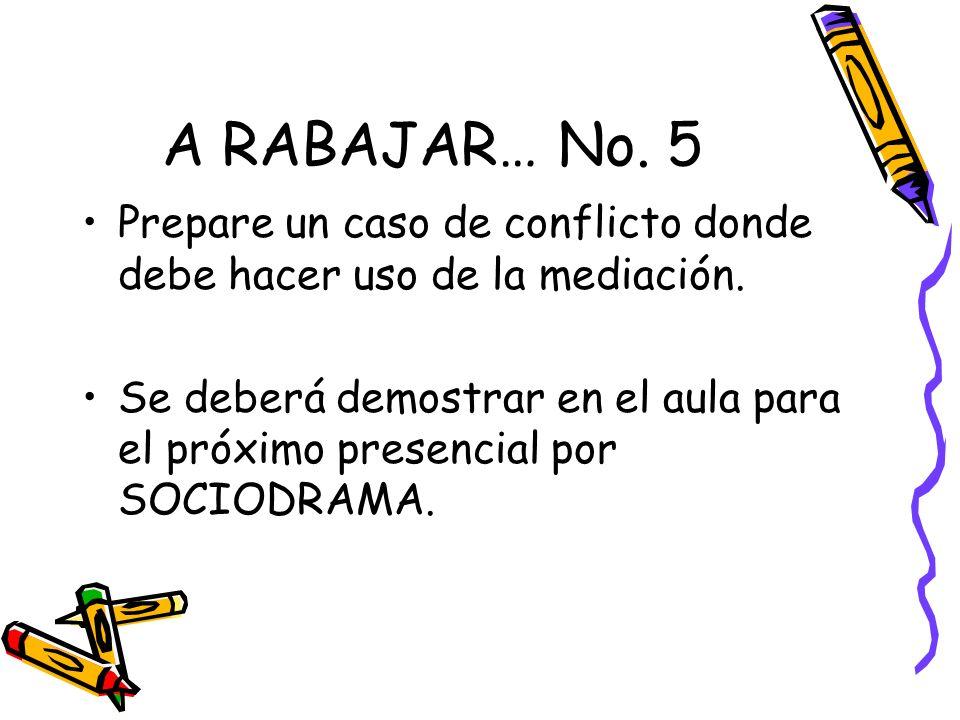A RABAJAR… No. 5 Prepare un caso de conflicto donde debe hacer uso de la mediación.