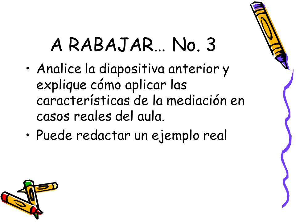 A RABAJAR… No. 3 Analice la diapositiva anterior y explique cómo aplicar las características de la mediación en casos reales del aula.