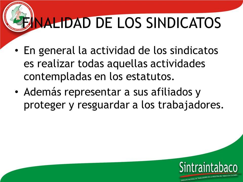 FINALIDAD DE LOS SINDICATOS