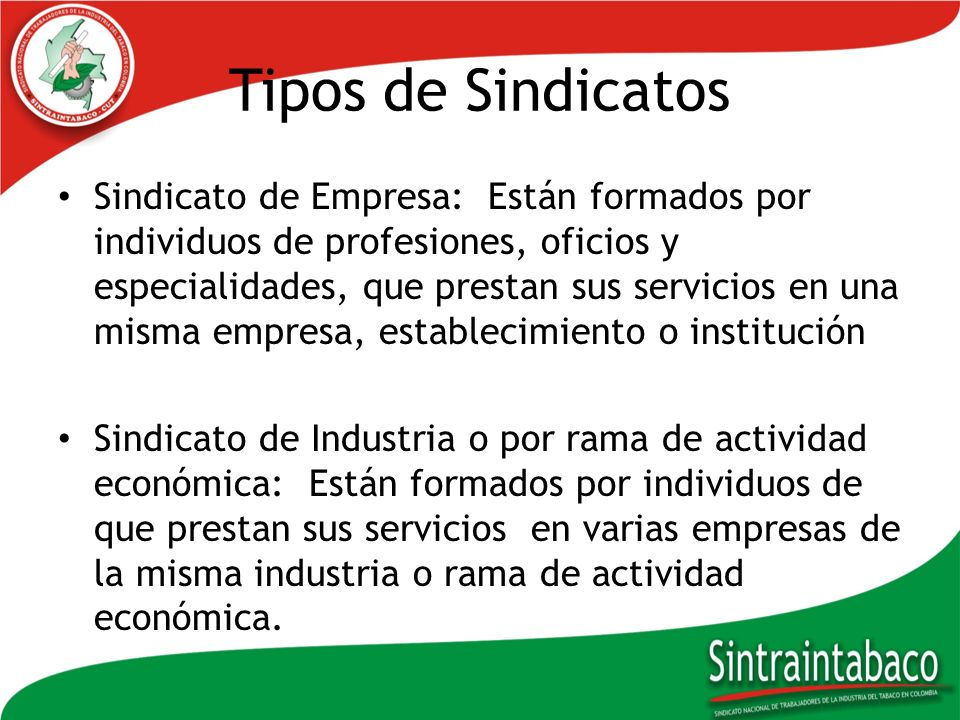 Tipos de Sindicatos