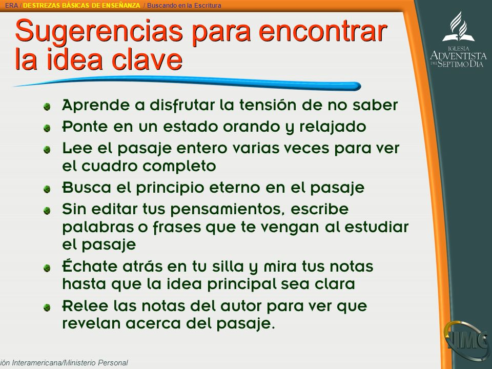 Sugerencias para encontrar la idea clave